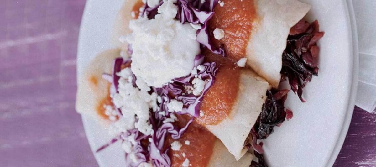enchiladas, gastronomia mexicana, flor de jamaica