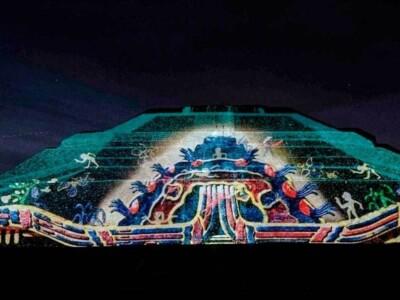 piramide del sol, espectaculo, luces