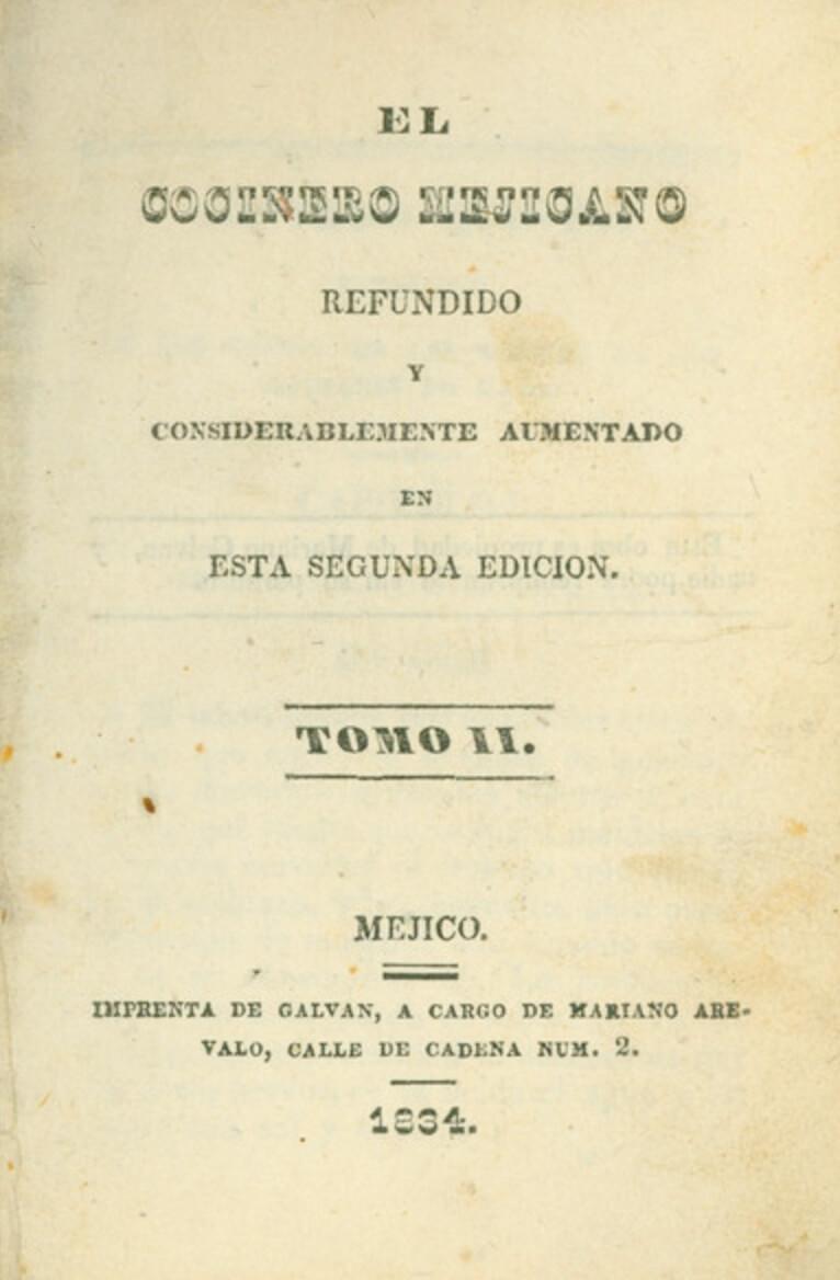 primer libro cocina mexicana El Cocinero Mexicano