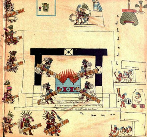Codice Borbonico lamina 34 detalle de ceremonia del Fuego Nuevo