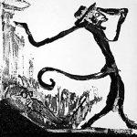 """Grabado que usó para ilustrar  la obra literaria """"Informe para una Academia"""" de Franz Kafka"""
