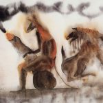 """Ilustración de tinta y acuarela llamada """"El Caballo y el Mar"""" hecha para el """"Manual de Zoología Fantástica"""" de Jorge Luis Borges."""