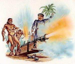 cortés enseña cañones indígenas