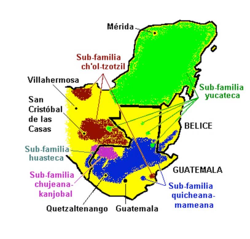 distribución geográfica lenguas mayas