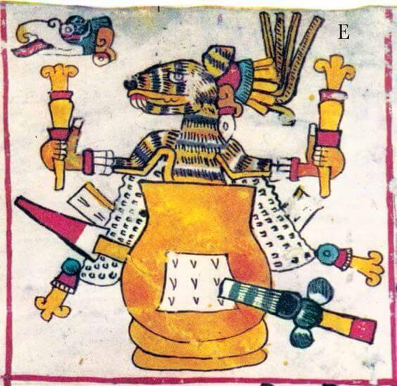 Octecómatl, olla del pulque, y el conejo, símbolos de los dioses del pulque. Códice Borgia, lám. 23.