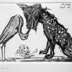 """Este grabado llamado """"El Lobo y la Cigüeña"""" lo hizo para ilustrar el clásico """"Fábulas de Esopo""""."""