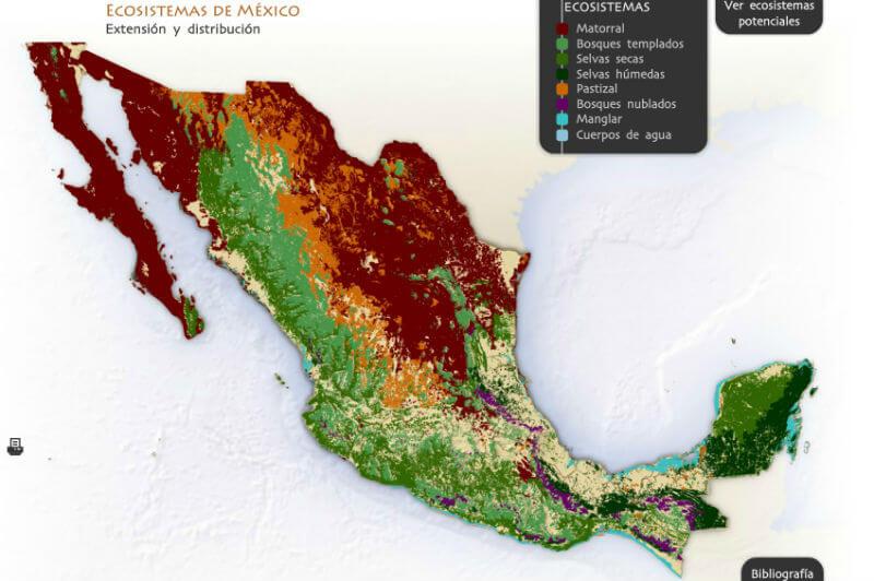 mapa ecosistemas de mexico diversidad