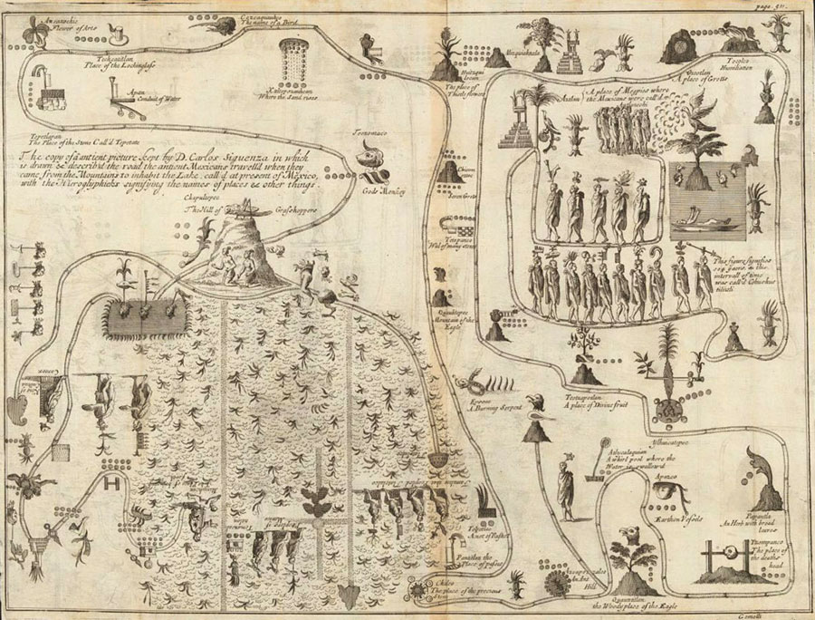 mapa antiguo de mexico incluido en diario de Giovanni Francesco Gemelli Careri