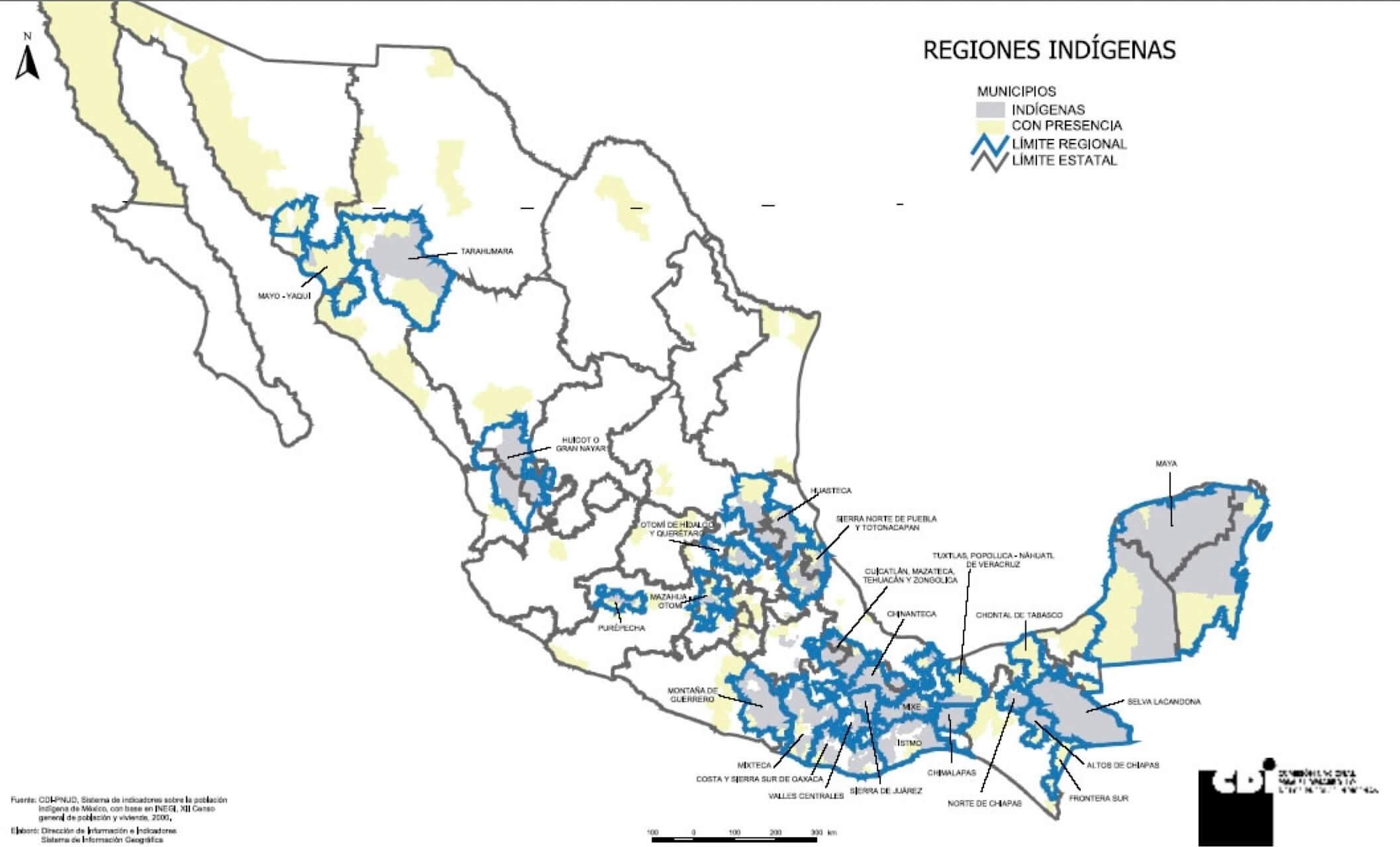 regiones poblacion indigena mexico