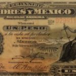 Billete que representa la paz y la justicia, emitido por El Banco Londres y México.