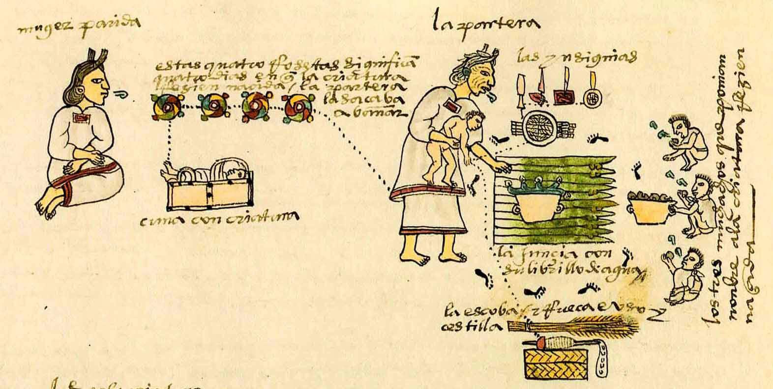 codice mendoza nacimiento bebe mexica