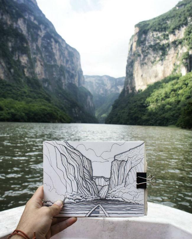 mexico en dibujos canon del sumidero
