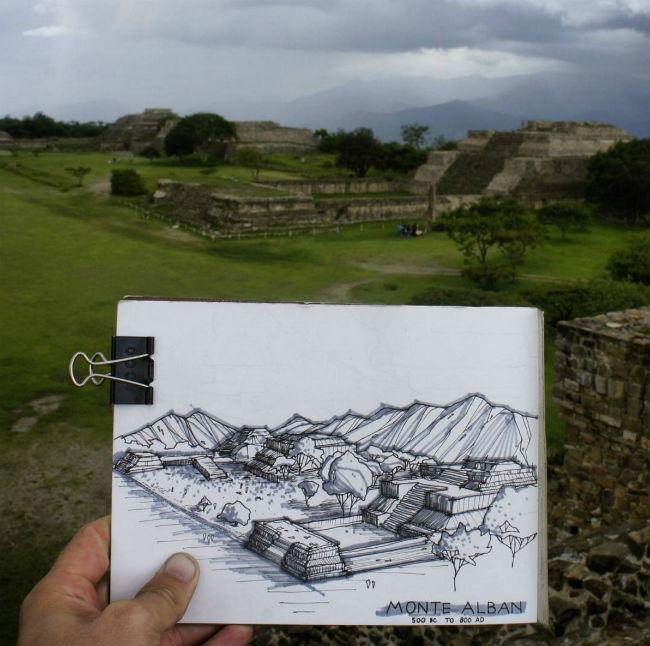 mexico en dibujos teotihuacan