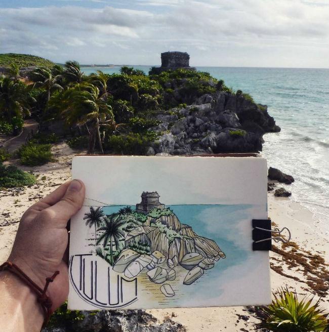 mexico en dibujos tulum