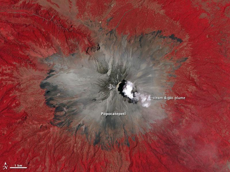 volcan pococatepetl mexico desde el espacio