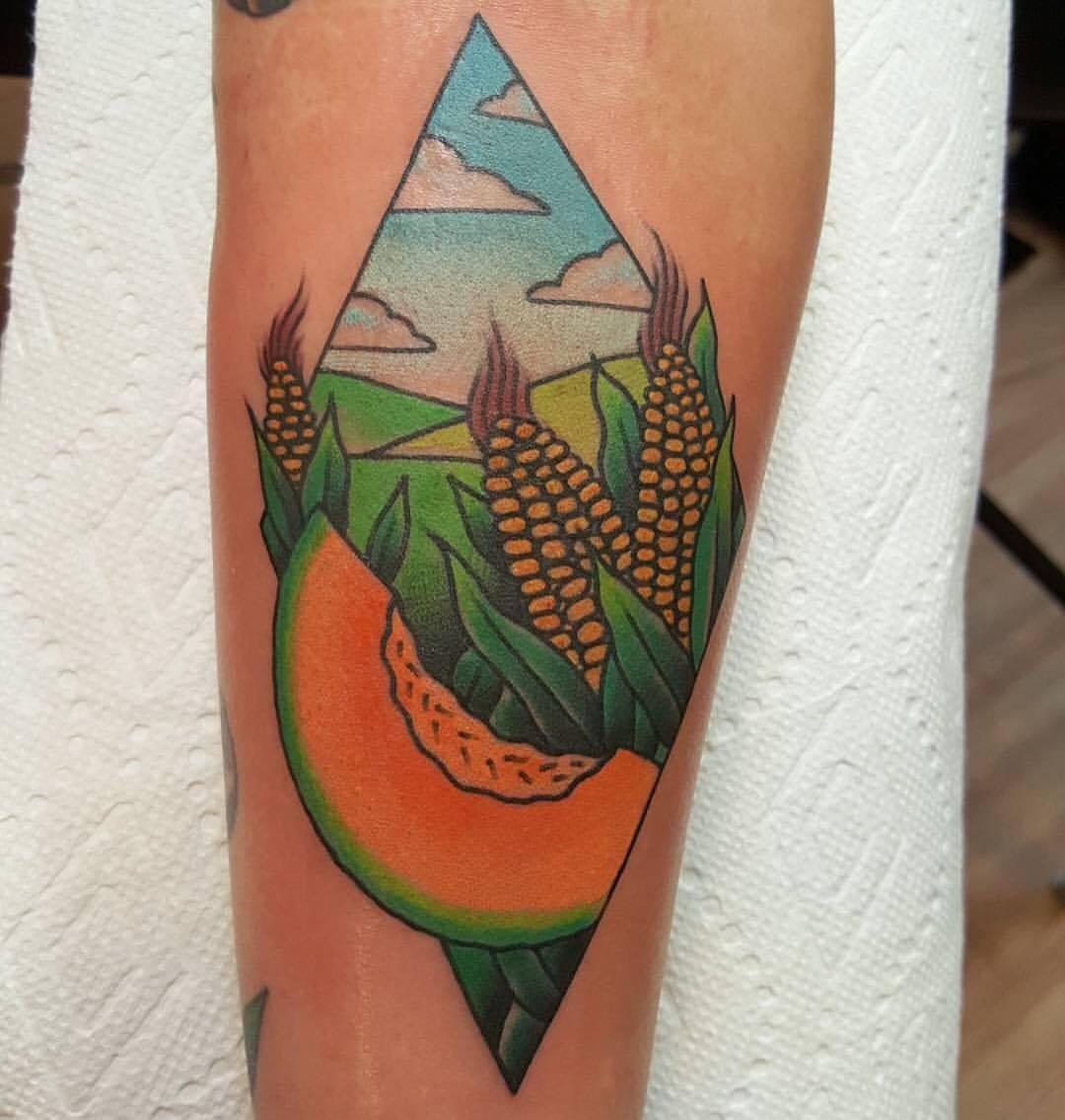 tatuaje-maiz-melon-comida-mexicana